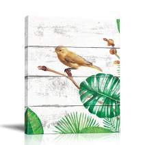 BOLUO Birds Wall Art Canvas Painting Parrot Framed Prints Palm Leaves Tree Artwork Pictures Animal Poster Bedroom Home Decor 12x16in (Picture-02)
