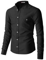 H2H Mens Casual Shirts Oxford Long Sleeve Basic Designed with Chest Pocket of Various Style