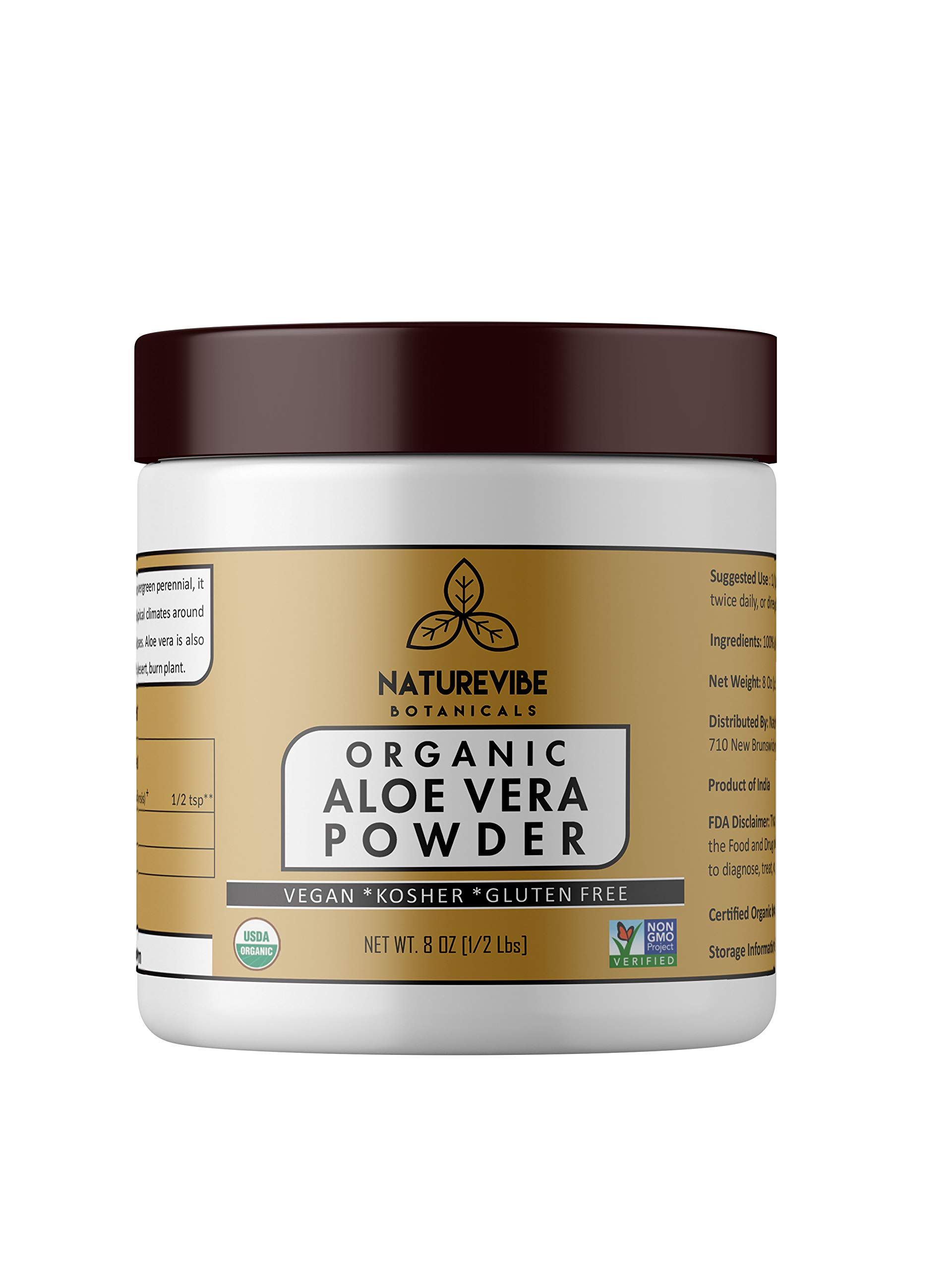 Organic Aloe Vera Leaf Powder (8 Ounce) - Aloe Barbadensis - USDA Certified Organic   Hair Care   Promotes Skin Health   Ayurvedic Herbal Supplement   Supports Immune System
