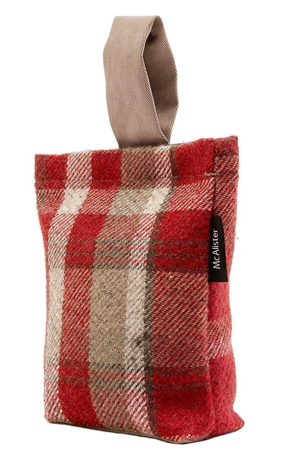 McAlister Textiles Heritage | Red + White Wool Feel Fabric Door Stop Tartan Plaid Patterned Doorstopper Book Stopper 8x6 Inches