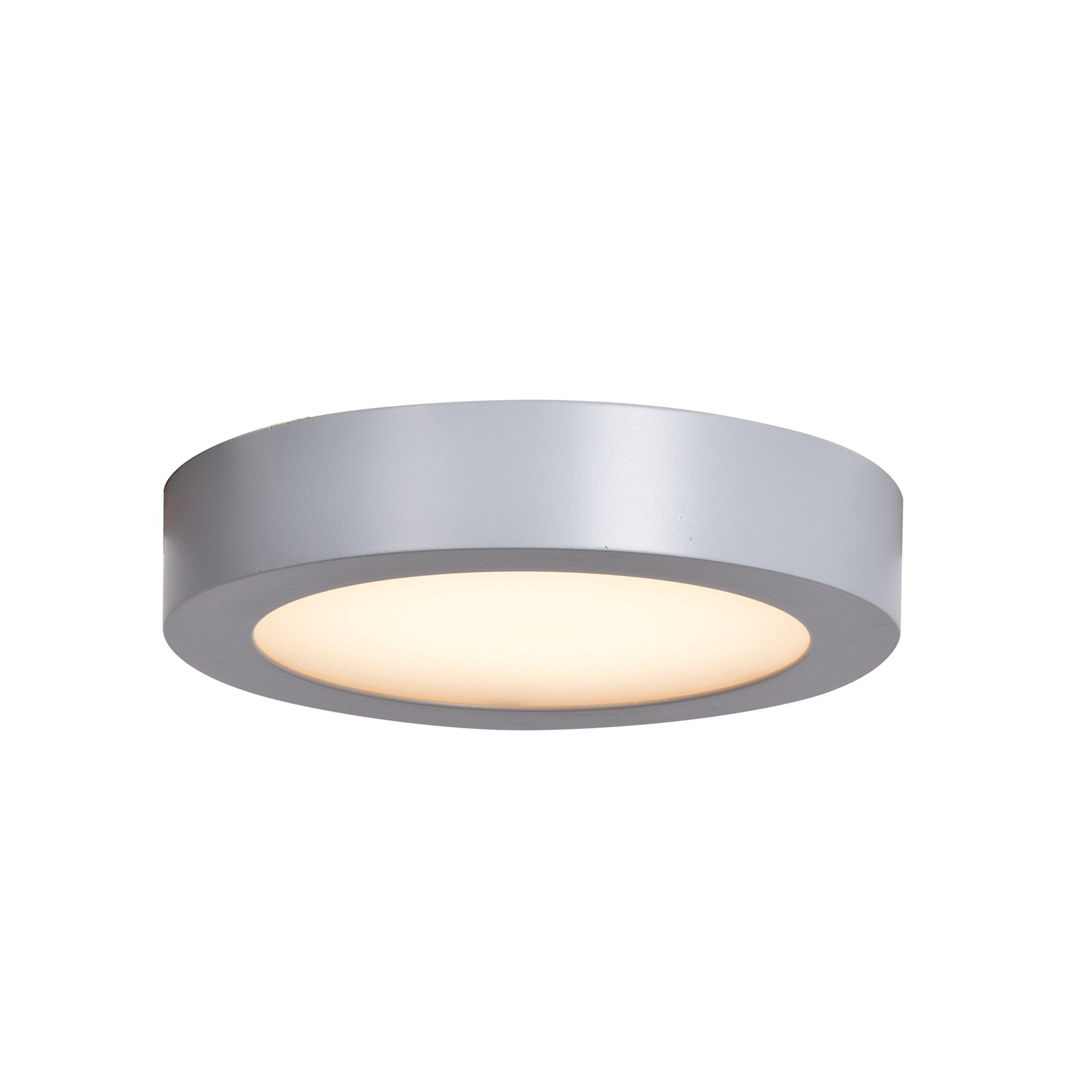 """Ulko Exterior LED Outdoor Flush Mount - 7""""D - Silver - Acrylic Lens Diffuser"""