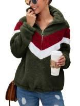 TEMOFON Women Fashion Long Sleeve Half Zipper Sherpa Sweatshirt Faux Shearing Fuzzy Fleece Pullover Jacket Coat Pockets Army Green S