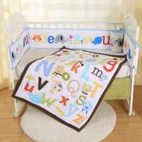 Baby Crib Bedding Set 7 Piece Blue Animal Alphabets Nursery Set with 4 Bumper Pads Comforter Crib Sheet Skirt for Baby Boys and Girls Baby Shower Gift