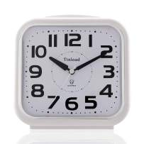 "5.5"" Silent Analog Alarm Clock Non Ticking, Gentle Wake, Beep Sounds, Increasing Volume, Battery Operated Snooze and Light Functions, Easy Set,White (Best for Elder)"