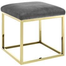 Modway Anticipate Velvet Upholstered Modern Ottoman With Stainless Steel Frame in Gold Gray