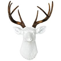 Near and Deer 8 Point Faux Deer Head Wall Mount - Farmhouse Americana Rustic - White/Bronze