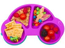 Qshare Toddler Plates, Portable Baby Plates for Toddlers, BPA-Free FDA Approved Strong Suction Plates for Toddlers, Dishwasher and Microwave Safe Silicone Placemat 10x7x1''