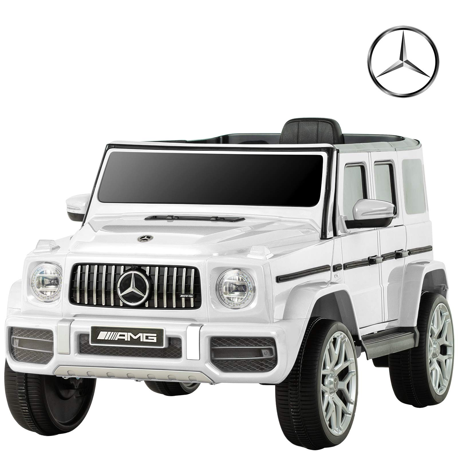 Uenjoy 12V Licensed Mercedes-Benz G63 Kids Ride On Car Electric Cars Motorized Vehicles for Girls,Boys, with Remote Control, Music, Horn, Spring Suspension, Safety Lock, LED Light,AUX, White