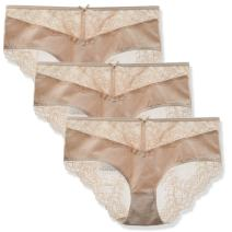 LIQQY Women's 3 Pack Cotton Invisible Lace Back Coverage Hipster Brief Panty Underwear