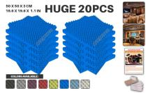 """Acepunch 20 Pack BLUE Egg Crate Convoluted Acoustic Foam Panel DIY Design Studio Soundproofing Wall Tiles Sound Insulation 19.6"""" x 19.6"""" x 1.2"""" AP1052"""