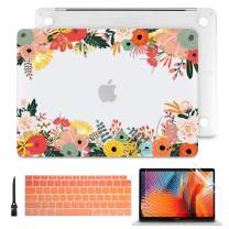 "Batianda for New MacBook Air 13 Inch Case 2018 2019 2020 A2179 A1932 Frosted Clear Hard Shell Cover with Match Keyboard Cover for MacBook Air 13.3"" with Retina Display & Touch ID, Watercolor Flower"