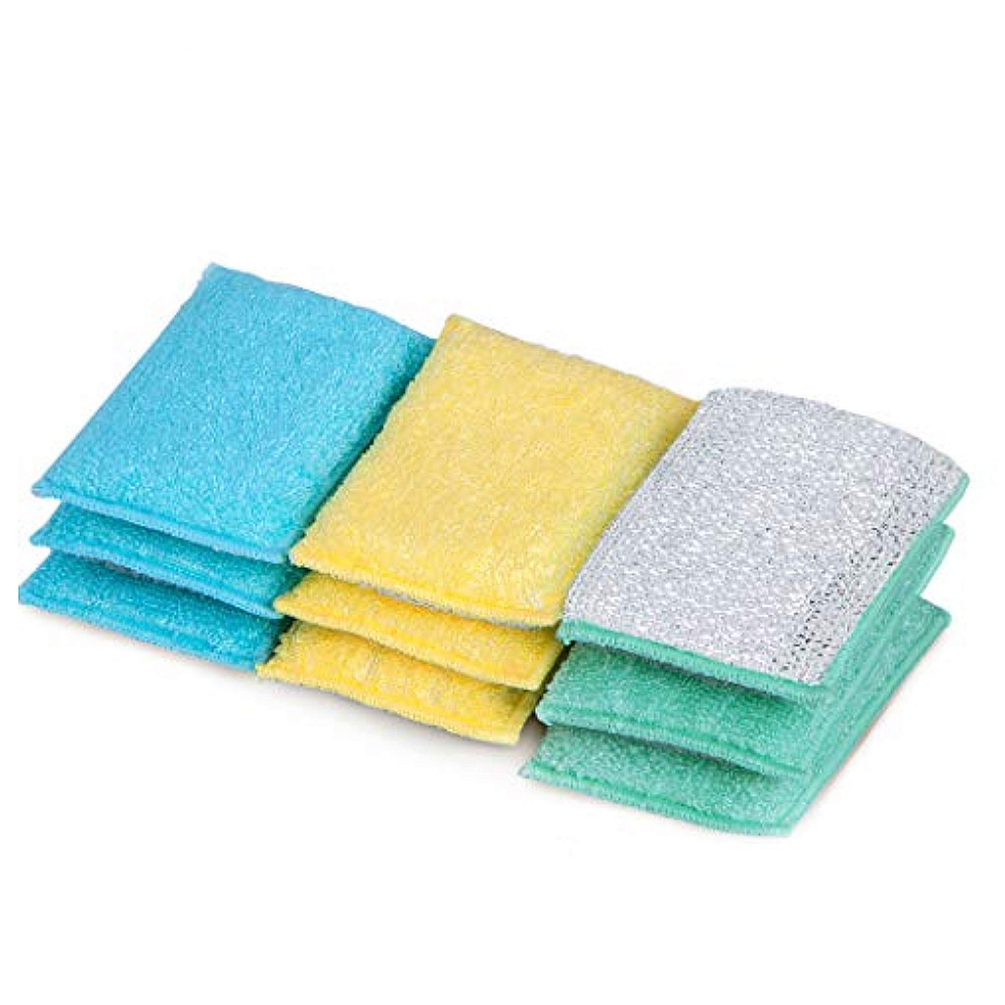 Smart Design SmartCloth Scrub Sponge w/Antimicrobial Odorless Fibers - Ultra Absorbent - Soft & Metallic Scrub Side - for Cleaning, Dishes, Hard Stains - Kitchen (Heavy Duty 9 Pack) [Pastels]