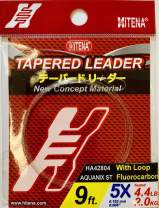 Hitena Fluorocarbon Tapered Leader with Pre-Tied Perfection Knot Loop - 100% Fluorocarbon Tapered Leader with Ultra Abrasion Resistance. Strong and Super Supple