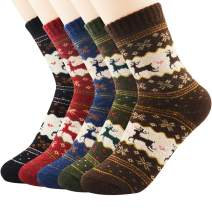 Century Star 5 Pairs Cashmere Wool Full Cushion Womens Crew Dress Socks