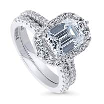 BERRICLE Rhodium Plated Sterling Silver Emerald Cut Cubic Zirconia CZ Art Deco Halo Engagement Wedding Ring Set 3.47 CTW