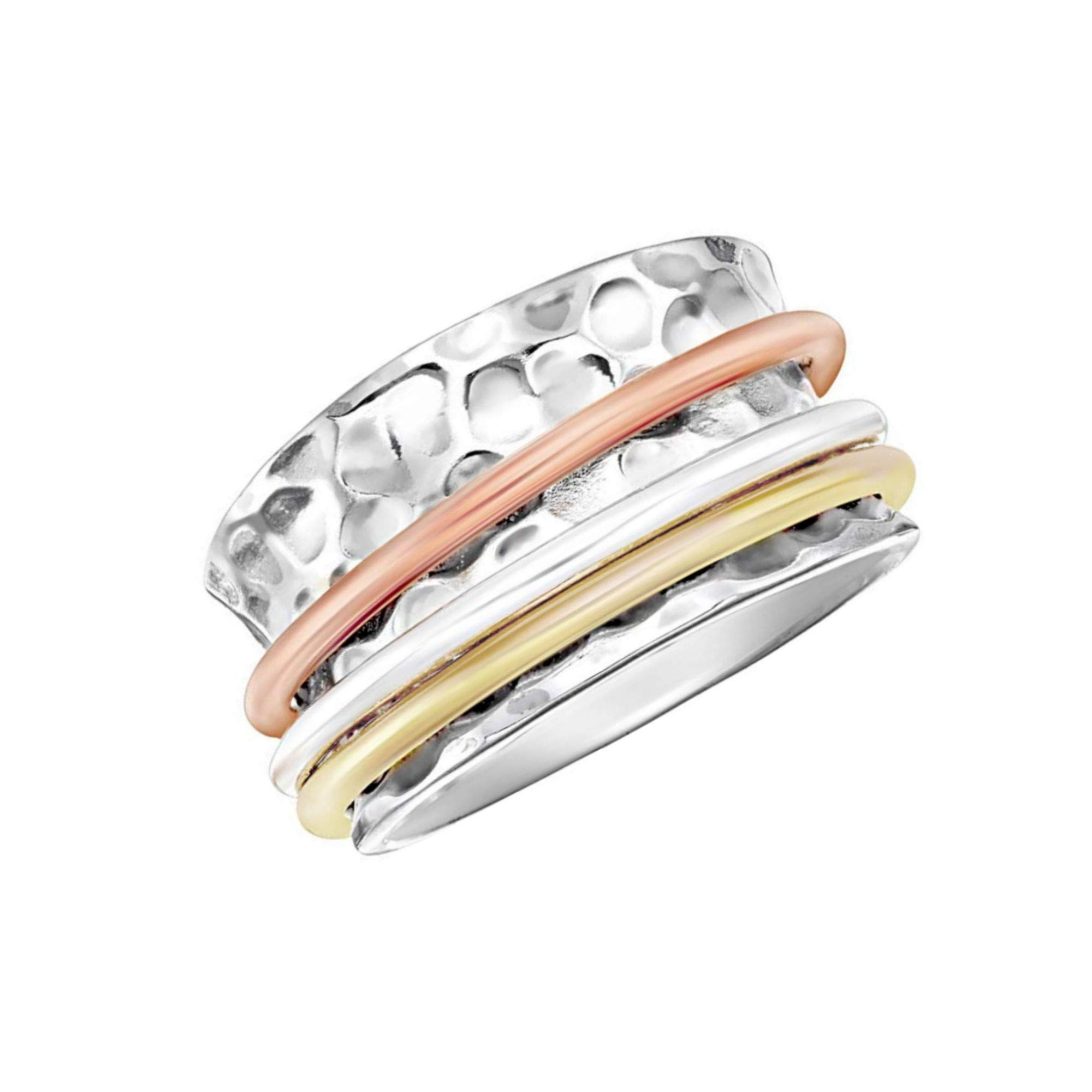 Energy Stone 925 Sterling Silver Serenity Comfort-fit Tapered Meditation Spinner Ring for Women with Tri-Color Spinners (Style US12)