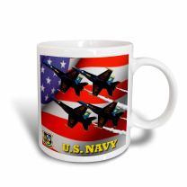 "3dRose mug_61134_2""U.S. Navy Blue Angels"" Ceramic Mug, 15 oz, Multicolor"