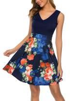 Bloggerlove Women's Floral Sleeveless Swing Dress V Neck Midi Dress A-Line Evening Party Dress