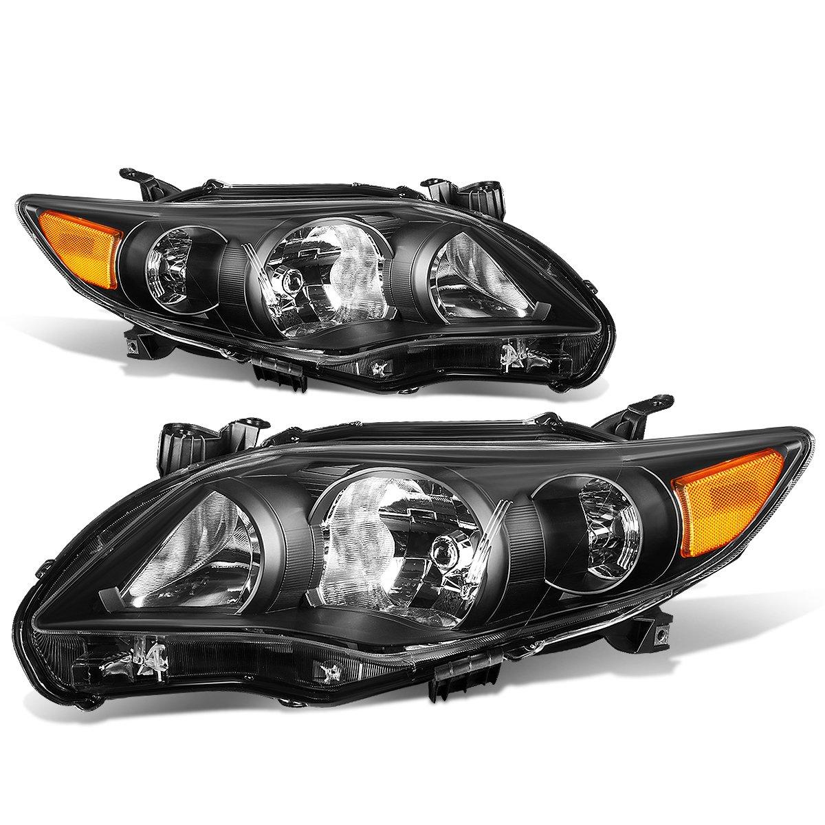 Replacement for Corolla Sedan Pair of Black Housing Amber Corner Headlight Kit
