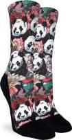 Good Luck Sock Women's Floral Pandas Socks - Black, Adult Shoe Size 5-9