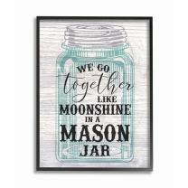 Stupell Industries Together Like Moonshine in A Mason Jar Southern Typography Black Framed Wall Art, 11 x 14, Multi-Color