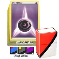 100 Basic Psychic Energy Pokemon Cards with A Totem World Deck Box - Purple Type - Set Varies from XY to Sun and Moon Series