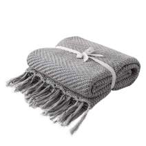 LakeMono 100% Cotton Knitted Throw Blanket, Super Soft Cozy Textured Crochet Couch Cover Blanket with Tassels (Grey, 53'' x 65'')