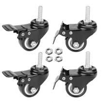 """AAGUT 4pcs 2"""" Swivel Stem Casters with Brake Lock, M8x25mm Stem Caster Wheel, Heavy Duty PU Rubber Wheels, Nuts Included"""