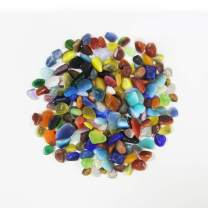 SumDirect 2 Pounds Tumbled Clear Assorted Color Beach Sea Glass Beads for Aquarium,Crafts,Decor and Etc (Assorted Color)