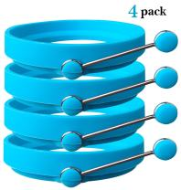 Silicone Egg Rings by Ozetti - Blue Color 4 Pack, Make Perfect Round Fry Eggs orPancakes, Professional Non-Stick BPA-Free Mold, Cooking Rings for Breakfast, Includes FREE Spatula and Recipes