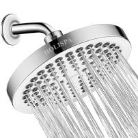 "Holispa Rain Shower Head–6"" High Pressure Rainfall Shower Head with angle adjustable–Tool Free Installation–Removable Flow Restrictor, Chrome"