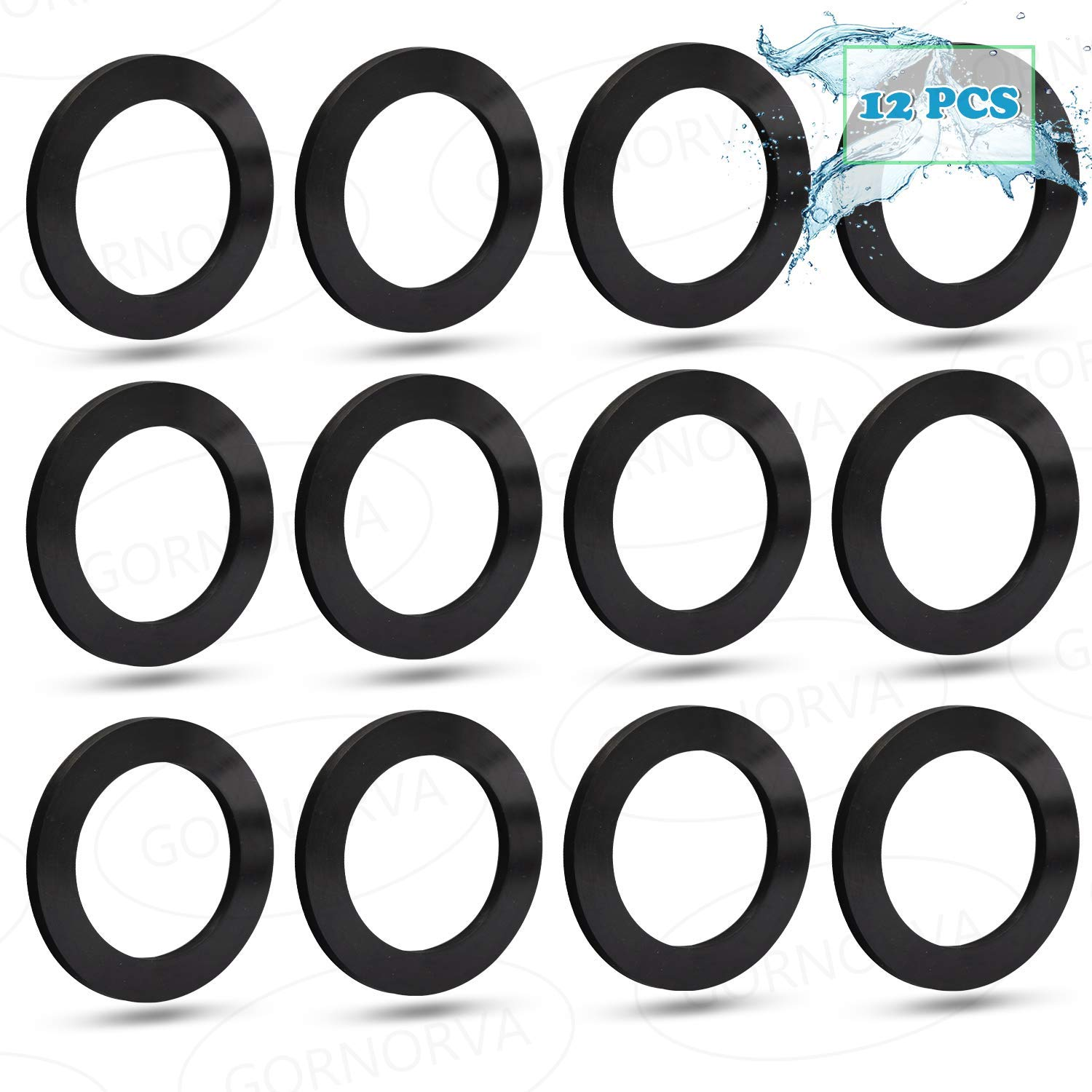 GORNORVA 12PCS 25076RP Large Strainer Rubber Washer for 1-1/2in Fittings for Intex Pool Plunger Valves and Intex Replacement Gasket- P/N10745