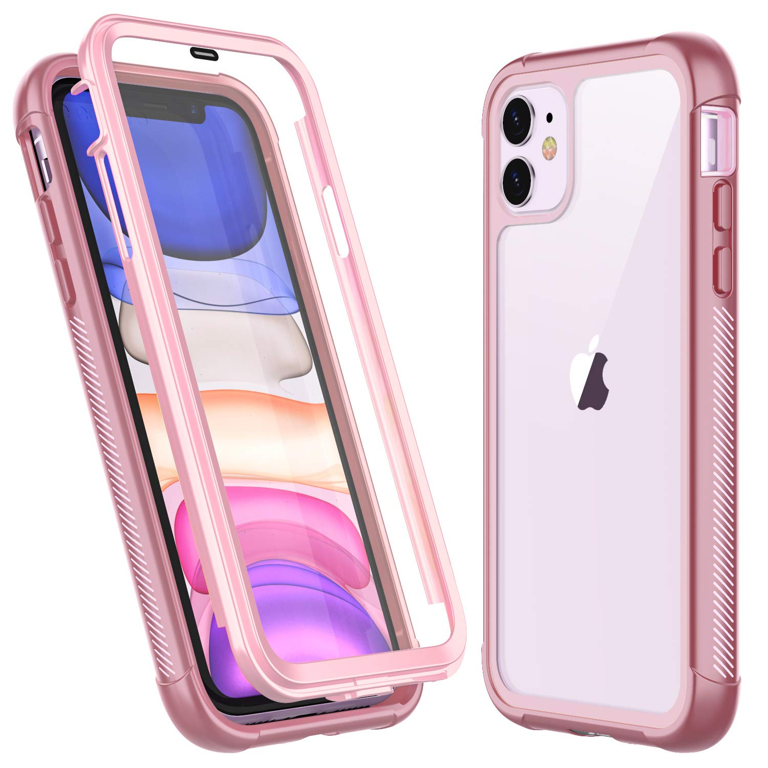 Temdan iPhone 11 Case,Full Body Built in Screen Protector Multi-Directional Bumper Case Support Wireless Charging, Heavy Duty Rugged Dropproof Cases for iPhone 11 6.1 inch 2019 (Pink)