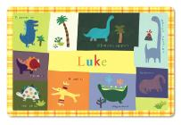 Kids Placemat Personalized with Child's Name, Custom Dining Table Mat, Unique Gift for Boys and Girls, Dinosaur, Trex, Tyrannosaurus, Triceratops