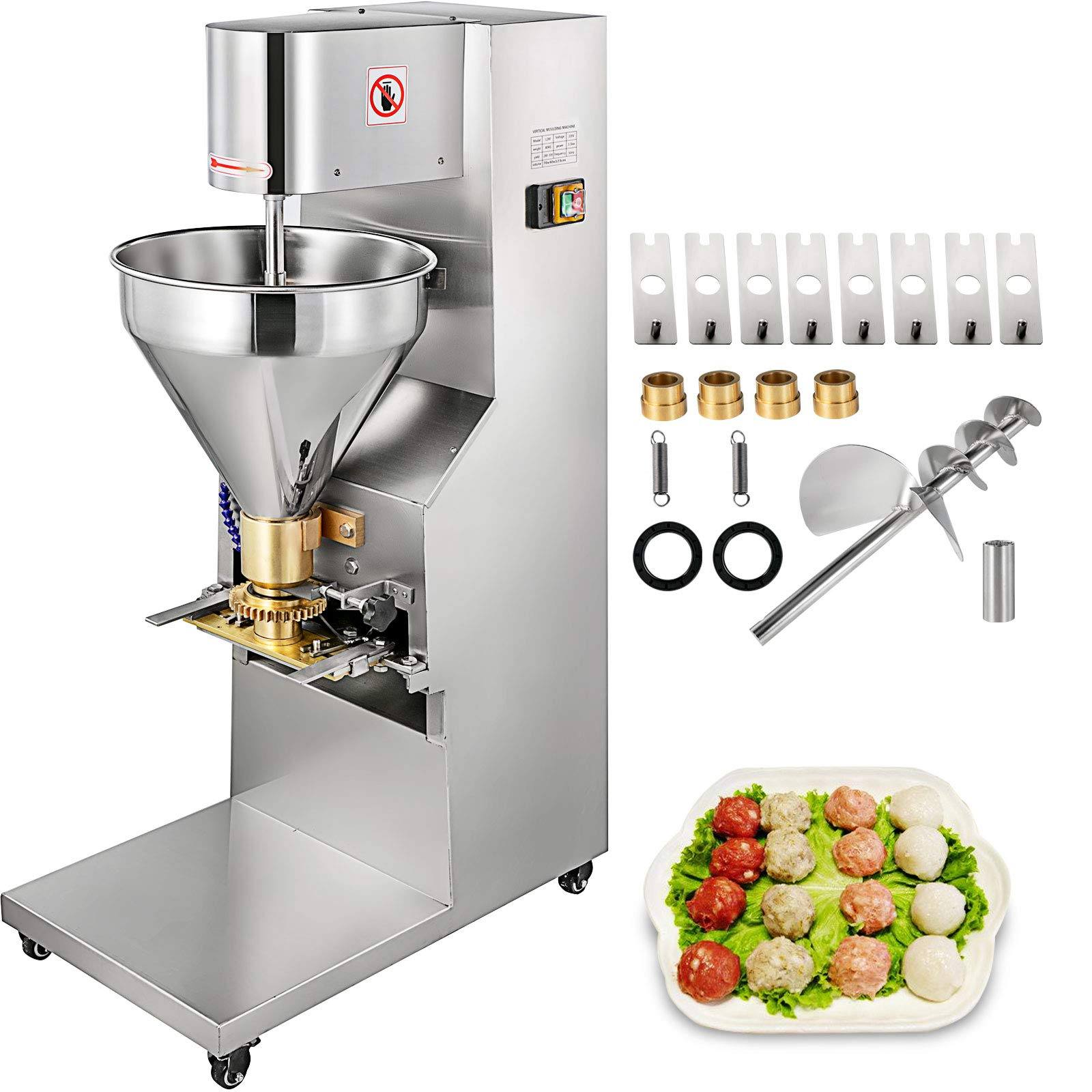 VBENLEM 1100W Commercial Meatball Forming Machine 280 Pcs/min Production Meatball Maker Machine with 18/20/22/26/30mm Models, Meatball Machine, Stainless Steel Meatball Maker Electric