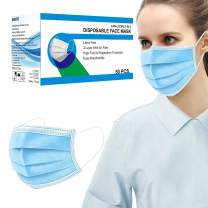 SPRING SEAON 50 Pcs Disposable Face Mask 3 Layer Adjustable Earloops Blue(Unisex)
