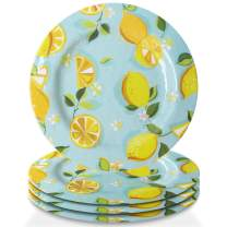 Trina Turk Melamine Set of 4 Plates Unbreakable, Lightweight Indoor & Outdoor Dinnerware Set for Home Entertaining, Barbecues, Picnics, Parties & Camping- BPA-Free, Dinner, Lemons