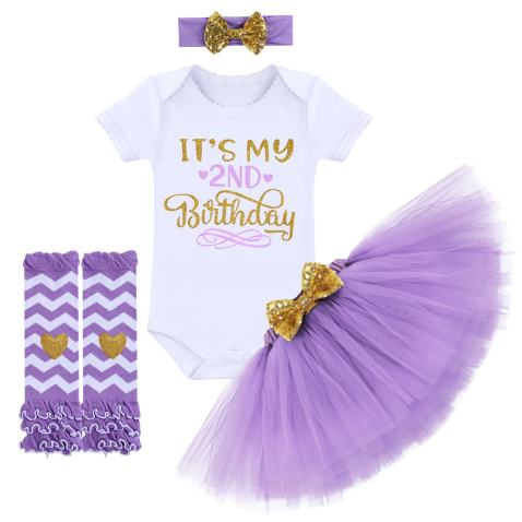 New Baby girl newborn birthday vest top bodysuit outfit pink glitter tutu and headband first outfit