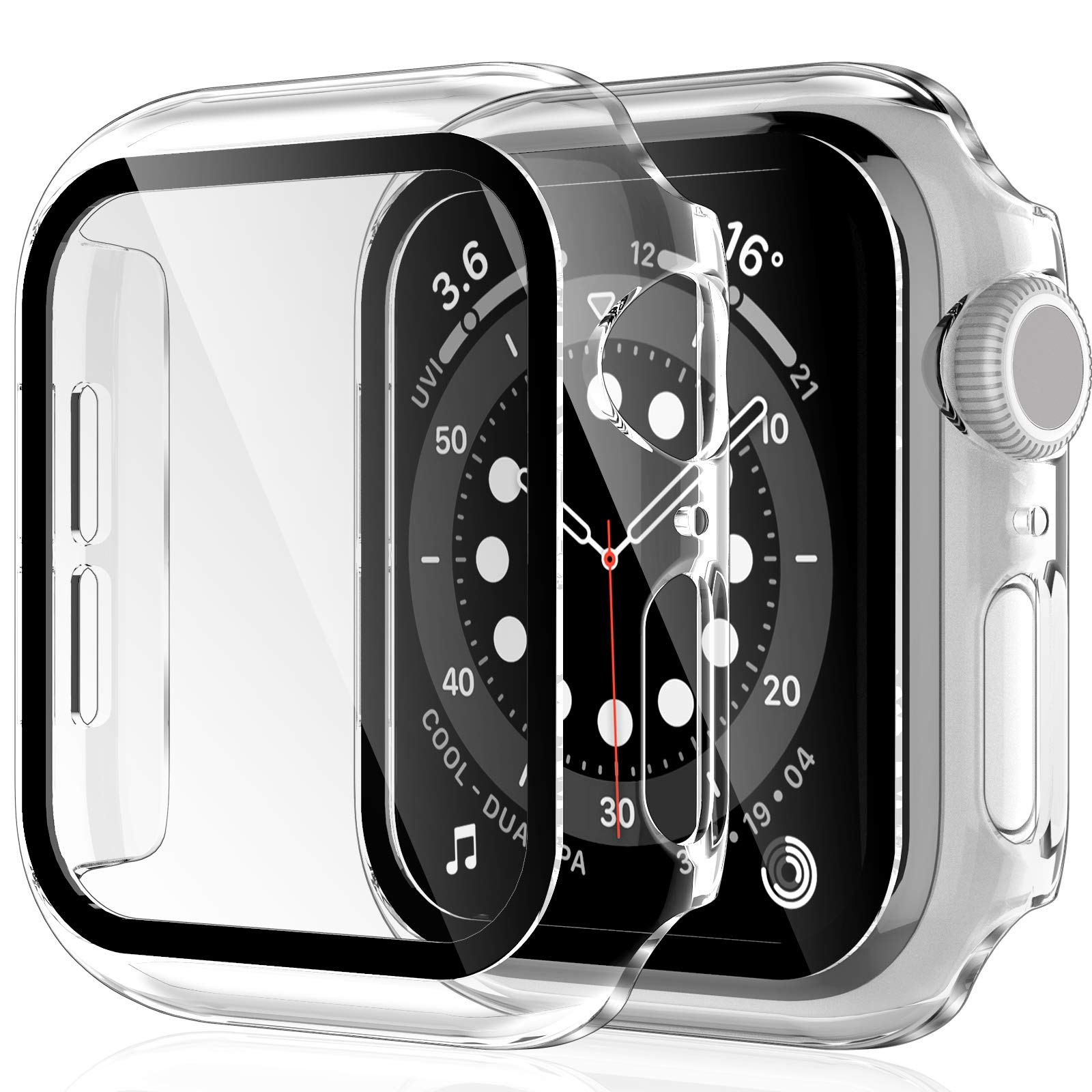 2 Pack HATOSHI Hard Case for Apple Watch 40mm Series 6, 5, 4, SE Built-in Tempered Glass Screen Protector, Ultra-Thin All Around Protective Glass Screen Cover for iWatch 40mm, Clear