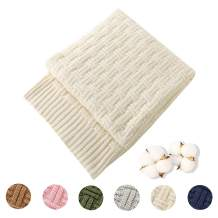 Treely 100% Cotton Knitted Throw Blanket Couch Cover Blanket(60 x 80 Inches, Ivory White)