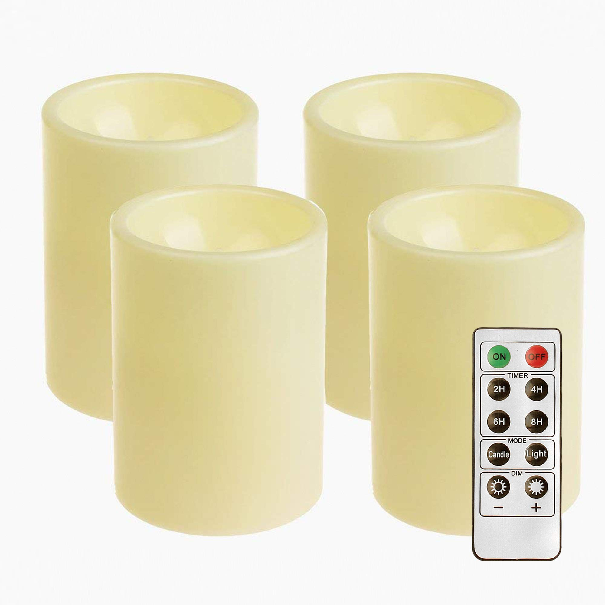 GiveU 4 Pack Battery Powered Electronic Plastic Pillar Flickering Candle With Remote Timer ,For Home Indoor & Outdoor Decoration,3x4inches,Ivory