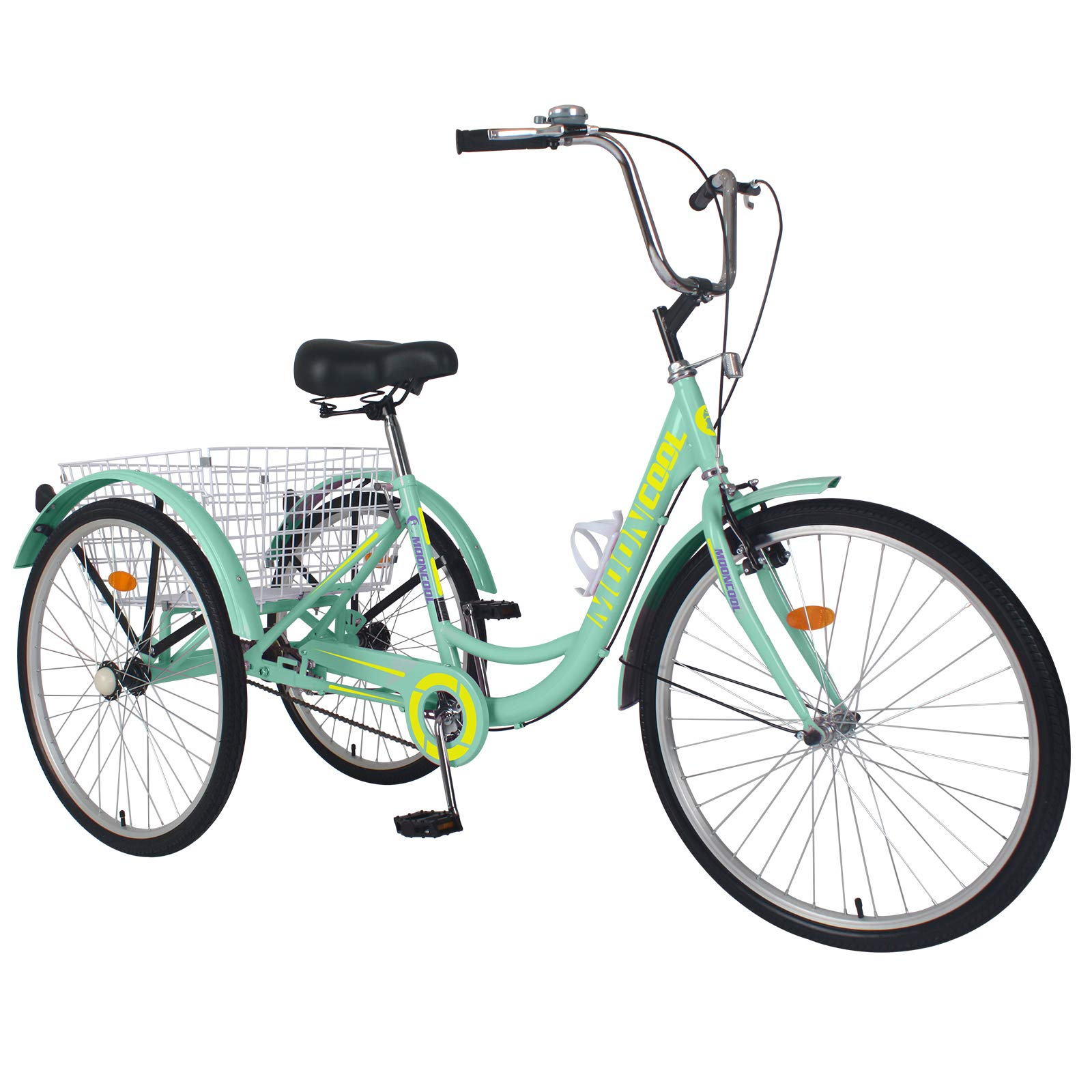 DoCred Adult Tricycle, 20/24 inch Adult Trikes Single Speed 3 Wheel Bikes for Adults Bicycles Cruise Trike with Shopping Basket for Seniors, Women, Men