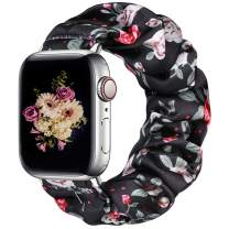 Easuny Scrunchie Band Compatible for Apple Watch SE Series 6 44mm Women - Soft Cloth Scrunchy Elastic Bracelet Wristband Strap Replacement for iWatch 42mm for Girl Series 3 2 1,Black/Red Flower Small