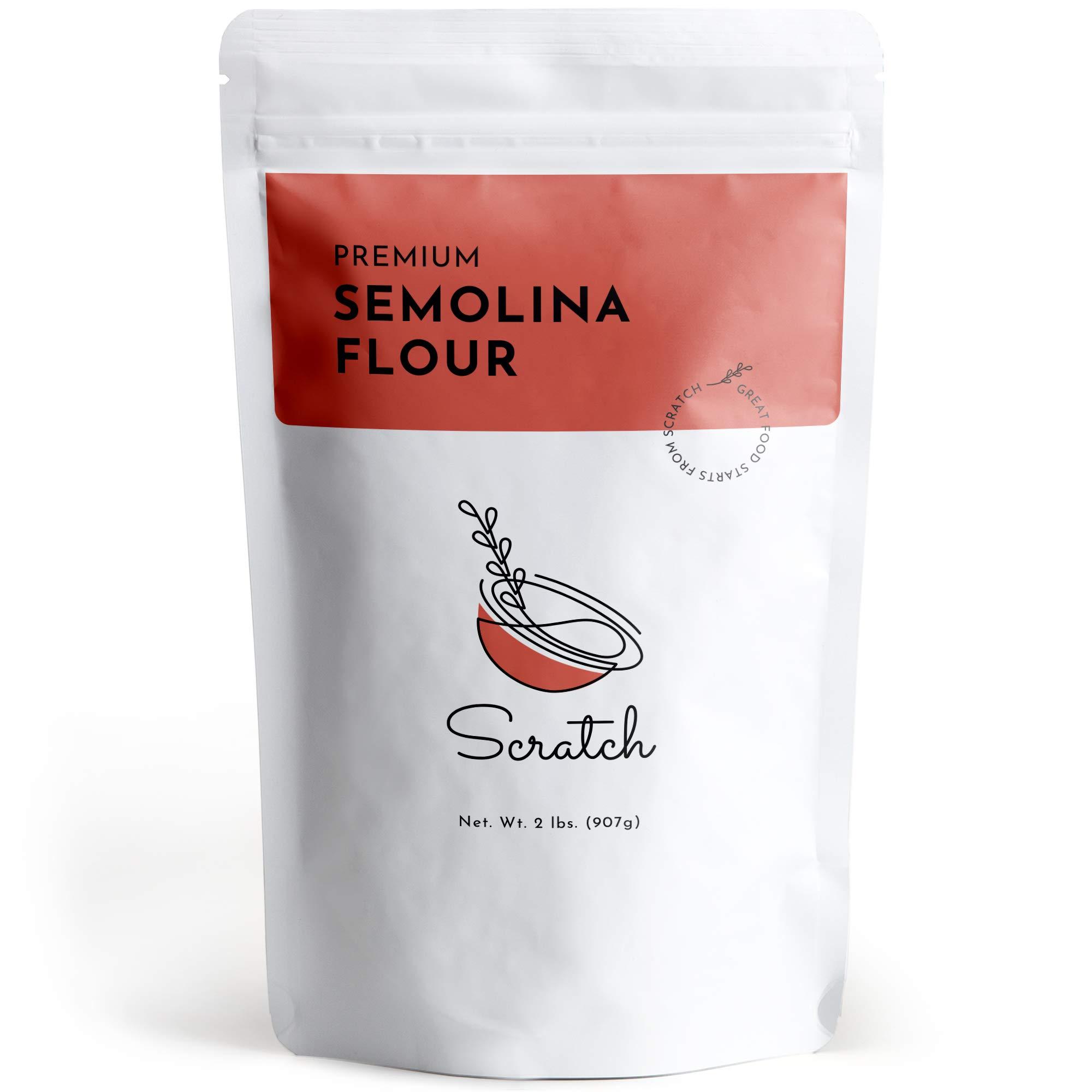 Scratch No.1 Durum Semolina Flour - (2 LB) Fine Semolina Flour for Pasta, Pizza Dough, Cake Flour and Bread Flour, 100% Fine Ground All-Natural Durum Wheat