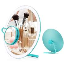 Dearwhite Led Makeup Mirror with 3X Magnifying Mirror,20 LED Lighted Mirror with Intelligent Switch,180°Adjustable Rotation,Magnesium Aluminum Alloy Shell,Portable Cosmetic Mirror (Tiffany Blue)