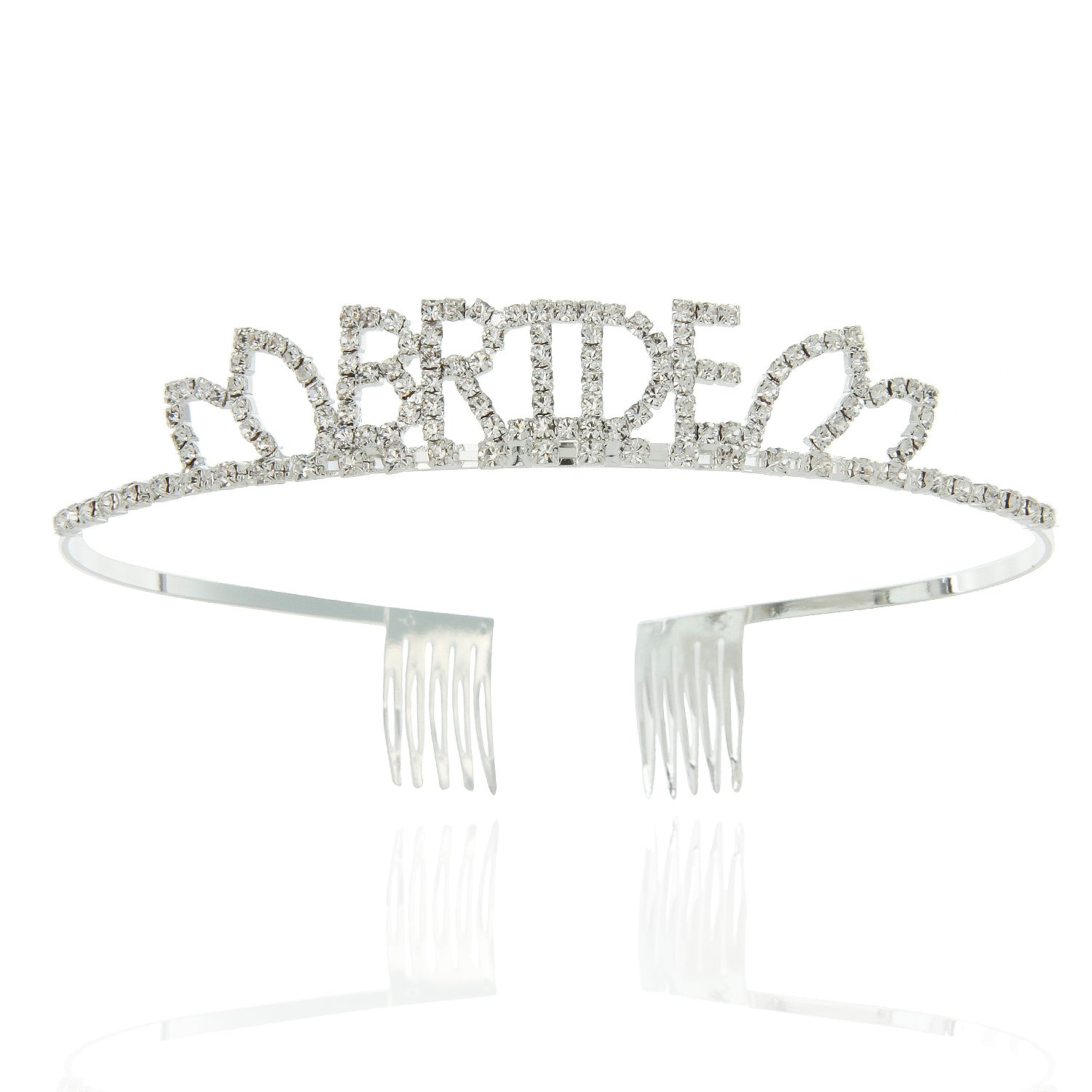 Bride Tiara for Bridal Shower Word with Clear Austrian Crystals in a Silver Short Size Word Finish