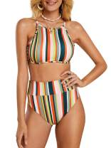 Womens Striped Printed Crop Top High Waisted Bikini Set Two Piece Swimsuits