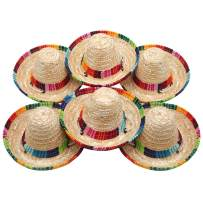 6 Pack Natural Straw Mini Sombrero, Mini Mexican Hat Tabletop Party Supplies, Fiesta Table Decorations, Cinco de Mayo Mexican Fiesta Hat, Mini Sombrero Top Hat for Pet