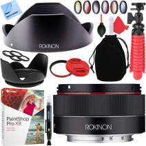 Rokinon IO35AF-E 35mm f/2.8 FE Ultra Compact Wide Angle Full Frame Lens Sony E Mount Bundle with 49mm Filter Sets, Paintshop Pro 2018, 49mm Filter, Cleaning Pen, Blower, Cleaning Kit and Lens Hood