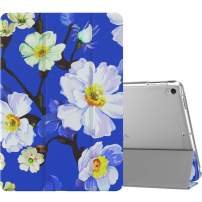 "MoKo Case Fit New iPad Air (3rd Generation) 10.5"" 2019/iPad Pro 10.5 2017, Slim Lightweight Smart Shell Stand Cover with Translucent Frosted Back Protector (Auto Wake/Sleep) - White Flower On Blue"